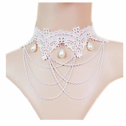 Vintage Bridal Retro Girl Gothic Lolita Braided Flower White Lace Collar Choker Necklace ()