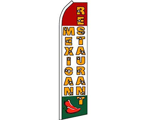 (ALBATROS Mexican Restaurant Red White Green Swooper Super Feather Advertising Flag for Home and Parades, Official Party, All Weather Indoors)