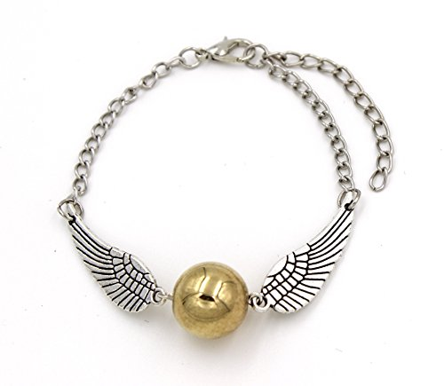 Steampunk FLYING Golden Orb - Bracelet - Silver Wings (Harry Potter Snitch)