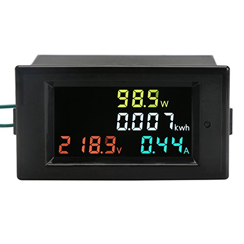 DROK Digital AC Multimeter Voltmeter Ammeter 80-300V 0-100A Watt Power Energy Meter 3000W, Voltage Ampere Active Power Energy Meter Monitor Color LCD Display