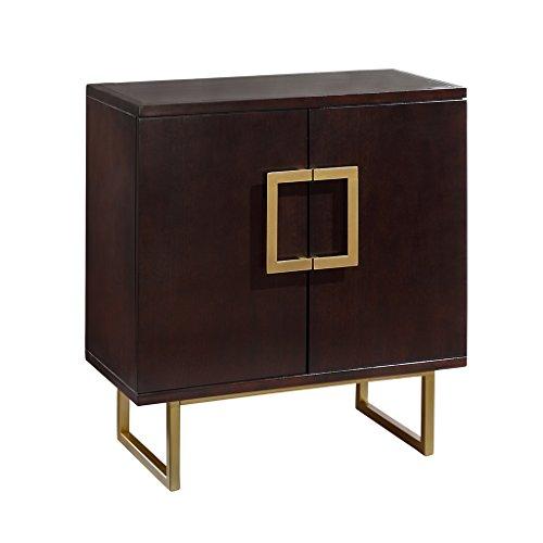 Madison Park Lexnnox Storage Chest - Dark Cherry Wood, Metal Living Room Storage - Dark Burgundy Wood, Gold, Luxury Modern Style Accent Floor Cabinet