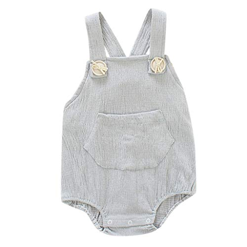 Baby Romper,Waymine Infant Boy Girl Sleeveless Solid Color Strap Summer Bodysuit Gray