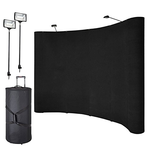 Pinty 8' Trade Show Display Booth Pop Up Fabric Curved Exhibit Banner Spotlights Black