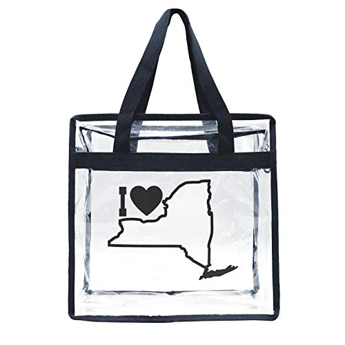 Eoyles gy Clear Bag Stadium Approved 12 X 6 X 12 Crossbody Transparent Purse Shoulder Handbag for Men Women I Love New York State Zippered Security Bag