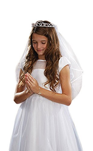 Girls First Communion White Satin and Tulle Veil with Faux Pearl Tiara, 26 Inch