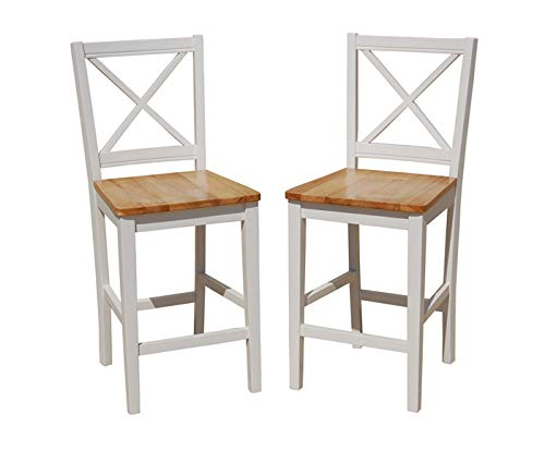 TMS 24 inch Virginia Cross Back Stools , White/natural