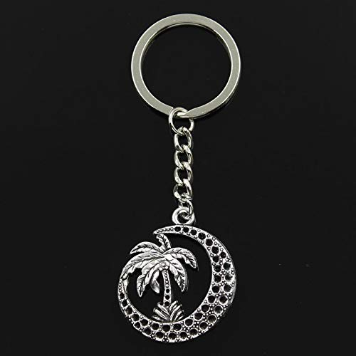 Key Chains - Fashion 30mm Key Ring Metal Key Chain Keychain Jewelry Antique Silver Plated Palm Tree Moon Coconut 3730mm Pendant - by ptk12-1 PCs