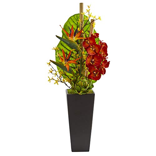 Nearly Natural Silk Artichoke - Nearly Natural 1692 32-in. Tropical Orchid, Bird of Paradise and Artichoke Artificial Silk Arrangements, Red