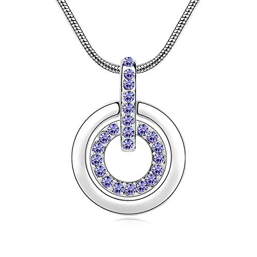 Style Charming Circle Pendants & Necklaces | with Czech Crystal | Suitable for Mother's Gift ()