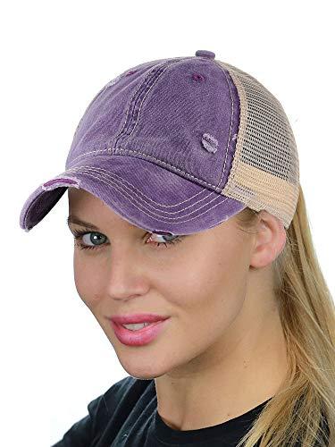 C.C Ponycap Messy High Bun Ponytail Adjustable Mesh Trucker Baseball Cap Hat, Washed ()