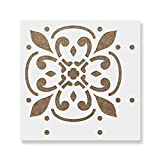 "Icarus Tile Stencil - Reusable Floor & Backsplash Mediterranean Tile Stencils for Home Decor, Furniture, and Walls 16""x16"""