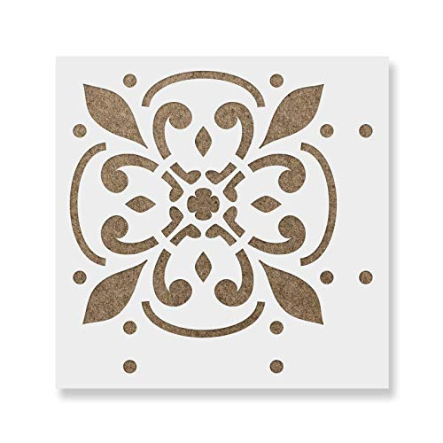 Icarus Tile Stencil - Reusable Floor & Backsplash Mediterranean Tile Stencils for Home Decor, Furniture, and Walls 16