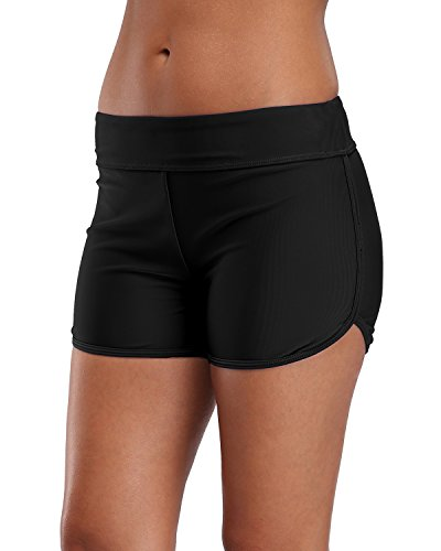 vivicoco Womens Tankini Bottoms Full Coverage Black Swim Shorts High Waisted (Womens Suits Separates)