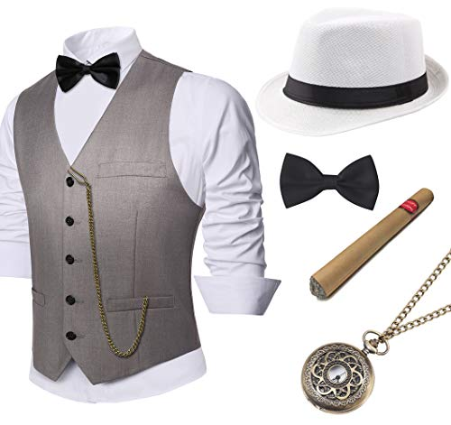 Roaring 20s Fashion Men - BABEYOND 1920s Mens Gatsby Gangster Vest