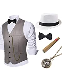 BABEYOND 1920s Mens Gatsby Gangster Vest Costume Accessories Set Manhattan Fedora Hat Bowtie Plastic Cigar Vintage Pocket Watch (Gray, Medium