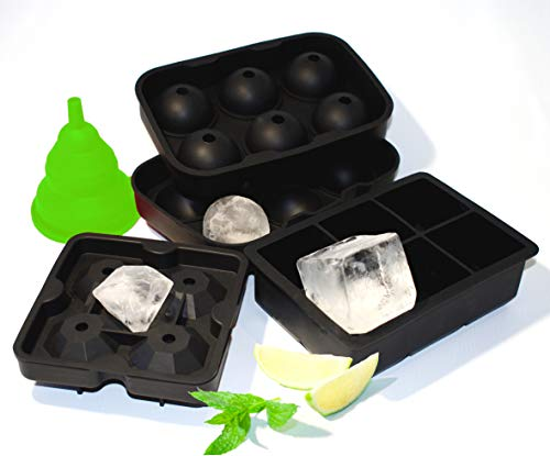 Ice Cube Trays Silicone Combo Mold Set of 3 - Large Squares, Giant Sphere Ice Balls and Huge Sparkling Diamonds, Giant Cubes for Whiskey and Drinks, Stackable Dishwasher safe, BPA free, FDA approved