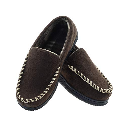 Boys Moccasin Slippers Memory Foam House Shoes Indoor Outdoor Anti-Slip Slippers for Kids Little Kid 12 US Brown