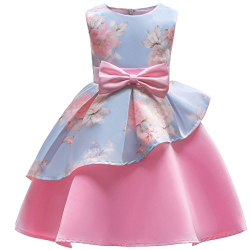 Niyage Girls Princess Retro Party Wear Prom Gown Flower Dress A-Blue Pink 2-3 Years