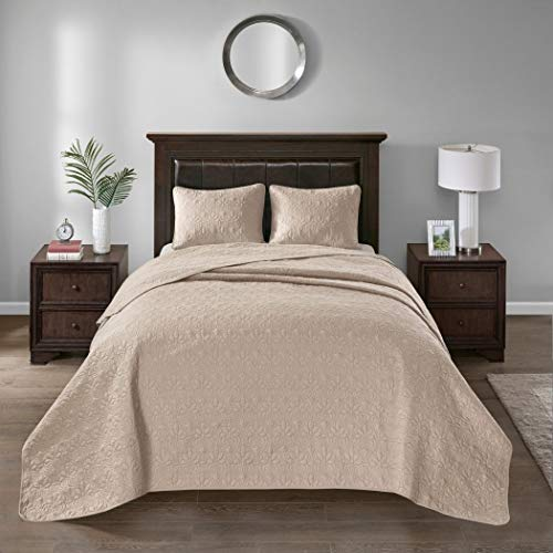 3 Piece Oversized King Bedspread to the Floor Set, Solid Khaki Brown Warm Tone, 120 Inches X 118 Inches, Coverlet Allover Quilt Drops Over Edge of King Beds, Microfiber, Stylish - Quilt Oversized 120 118 X