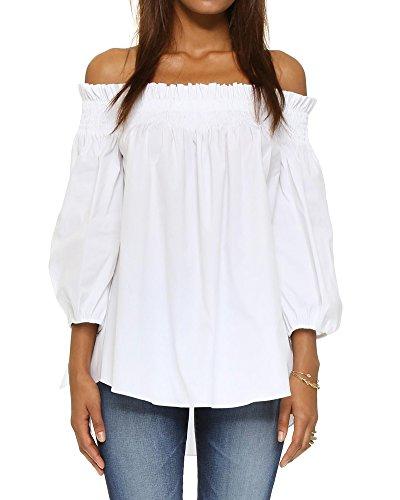 Romacci Donna off Spalla Camicia Maniche Lungo e Collo a Barca Casual Camicia Top Bianco