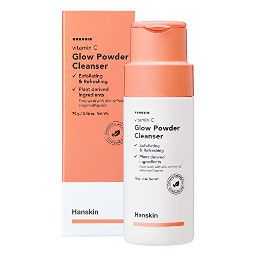 Hanskin Vitamin C Glow Powder Cleanser, Papaya Enzyme Powder Face Wash. Exfoliating and Refreshing [70ml]