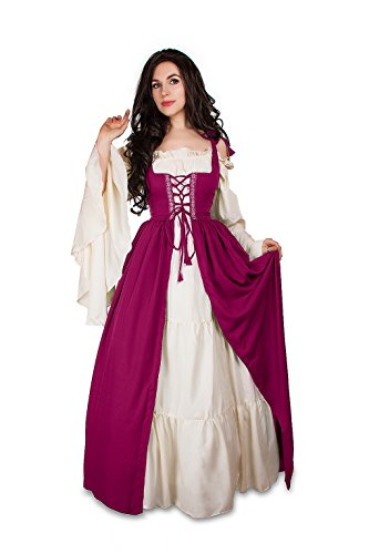Renaissance Medieval Irish Costume Over Dress & Cream Chemise Set (L/XL, Orchid)