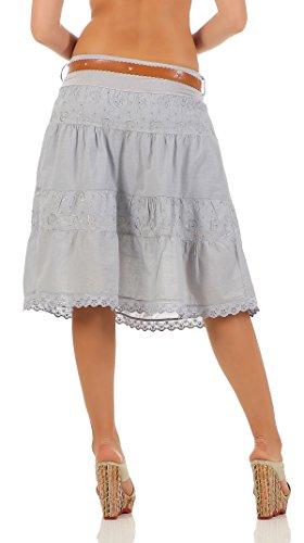 ... malito falda con cinturón verano tramo bordado A-línea 16169 Mujer Talla  Única gris claro 93a75ec418e8