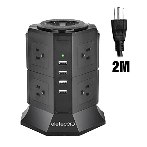 Vertical Power Strip, EletecPro Tower Extension Lead Smart Socket 2M/6.6ft With Surge Protection Overload Protection 8 Way Outlet and 4 USB (5V/4.5A ) Charging Ports Stations Cord Fireproof