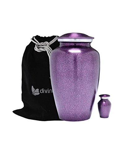 Divinityurns Purple Droplet Cremation Urn Set - Purple Urn - Affordable Handcrafted Adult Funeral Urn for Ashes - Large Urn with Free Keepsake Deal by Divinityurns