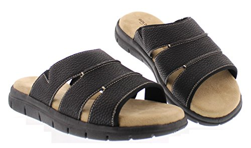 Image of Gold Toe Men's Harbour Casual Outdoor Fisherman Sandal Slip On Open Toe Beach Slides Flats Water Shoes Black 9.5D US