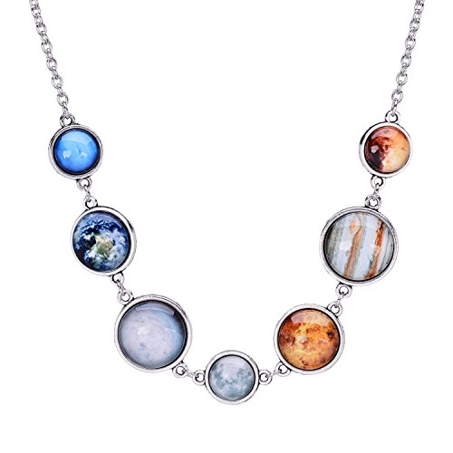 QILMILY Solar System Necklace Moon Necklace Handmade Unique Planet Necklace for Women Universe Silver Necklace (Fancy Cabochon 925 Silver Pendant)