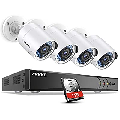 ANNKE Surveillance Camera System, 1080P 8CH DVR Home Security Camera System with 1TB HDD and (4) Ultra Clear 100ft Night Vision Full-HD 1080P Security Camera for Outdoor use, Email Alert with Snapshot from ANNKE