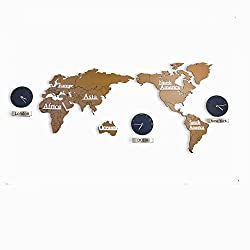 Sticker Indoor Modern Creative Large 3D DIY Home World Map Silent Non-ticking Wall Clock, 3 Cities World Time Hanging Clock (Brown)