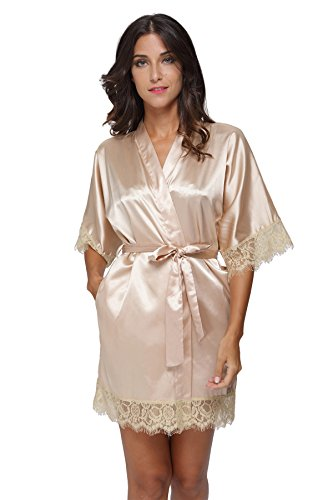 34491bce9d Women s Sexy Satin Short Kimono Robe with Lace Trim Bridal Party Robe  Sleepwear