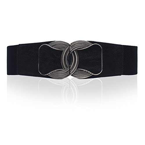 Wyenliz Women's Bow-Tie Buckle Elastic Stretch Wide Cinch Waist Belt