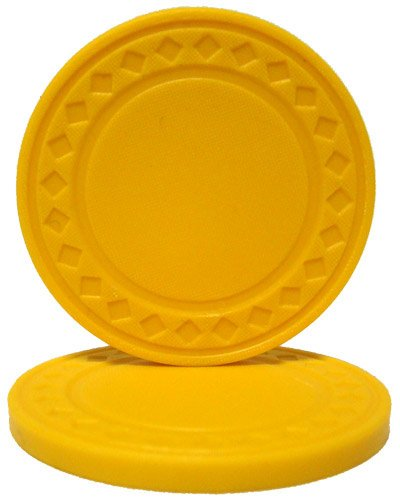 Brybelly Diamond Ring Poker Chip 8.5-Gram Clay Composite - Pack of 50 (Yellow) ()