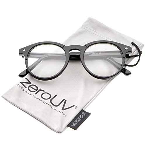 zeroUV - Retro Keyhole Nose Bridge Clear Lens Horn Rimmed Round Eyeglasses 49mm (Black / - Frame Sunglasses Warby Parker Clear