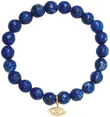 Semi Precious Gemstones 8mm Agate Bead 18K Gold-Tone Charm Stretch Bracelet [Made in Korea]