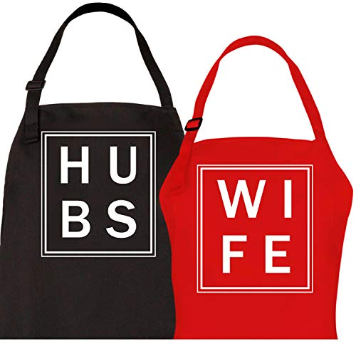 Let the Fun Begin Couples Aprons His Hers Wedding Gifts - Hubs and Wife Apron Set | Bridal Shower Gift | Couple Engagement Mr and Mrs Hubby Wifey