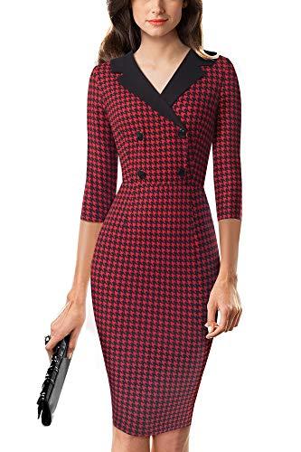 HOMEYEE Women's Vintage V Neck Houndstooth Stretch Bodycon Office Dress B570