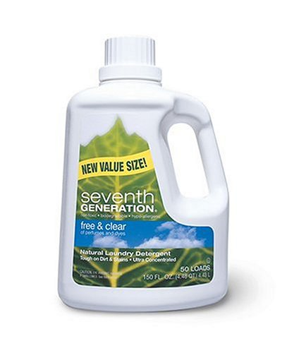 Seventh Generation Natural Laundry Detergent, Free & Clear, Ultra-Concentrated Liquid, 150-Ounce Bottles (Pack of 3) by Seventh Generation