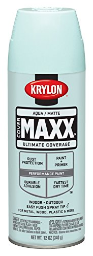 Krylon K09150000 Covermaxx Spray Paint  Matte Aqua  12 Ounce