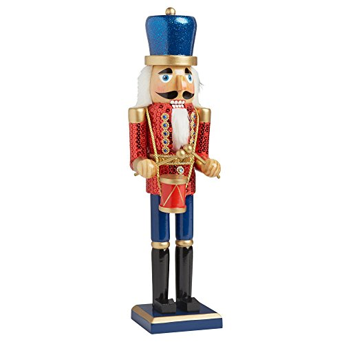 Nantucket Home Wooden Christmas Nutcracker Decor, 15-Inch (Sequin Drummer (Drummer Nutcracker)
