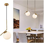 Hanging Lights Pendant Lighting with Modern and Classic Style,Milky Glass Light Fixture for Kitchen Island,Din
