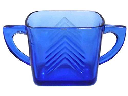 Vintage Hazel Atlas Cobalt Blue Chevron Pattern Glass Open Sugar Bowl