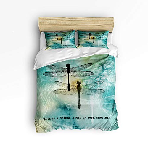 YEHO Art Gallery Soft 3 Piece Duvet Cover Set (1 Comforter Cover with 2 Pillow Cases) for Girls Boys,Quote Love is A Nature Angel on Your Shoulder Dragonfly Printed Christmas Bedding Sets,Queen Size