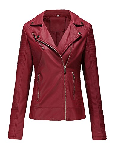 Bellivera Women's Faux Leather Casual Red Short Jacket,Moto Coat with 2 Zipper Pockets for Spring and Autumn