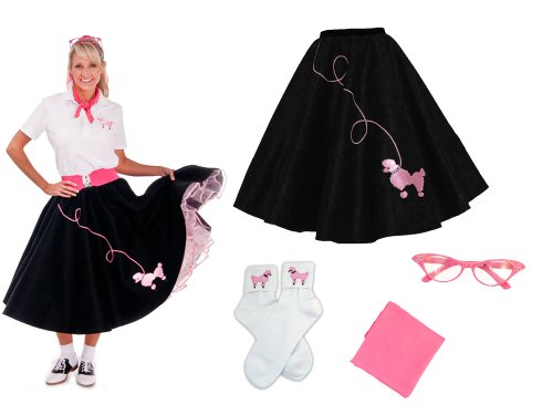 Hip Hop 50s Shop Adult 4 Piece Poodle Skirt Costume Set Black and Pink 3XLarge/4XLarge
