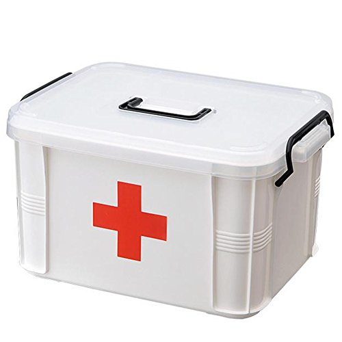HOMEJU Red First Aid Clear Container Bin Family Emergency Kit Storage Box with Detachable Tray