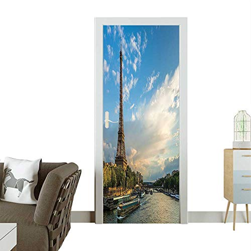 Homesonne Decorative Door Decal Sunset Over Eiffel Tower River Puffy Clouds Paris France Nature S Stick The Picture on The doorW38.5 x H77 ()
